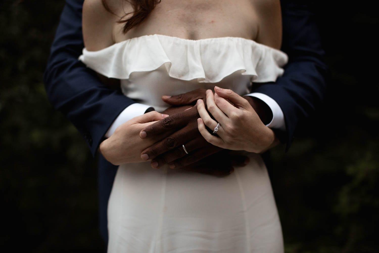 Bride and Groom hands rings