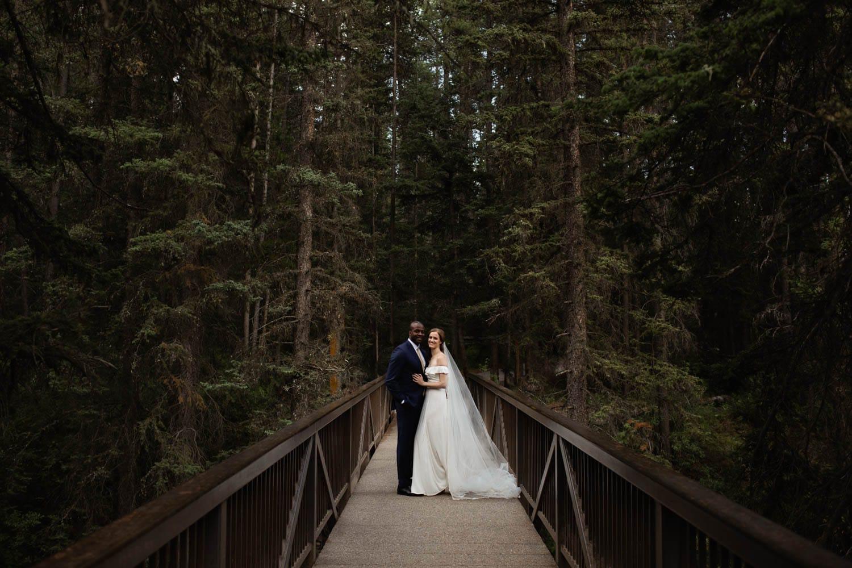 Wedding Photo on Banff Bridge