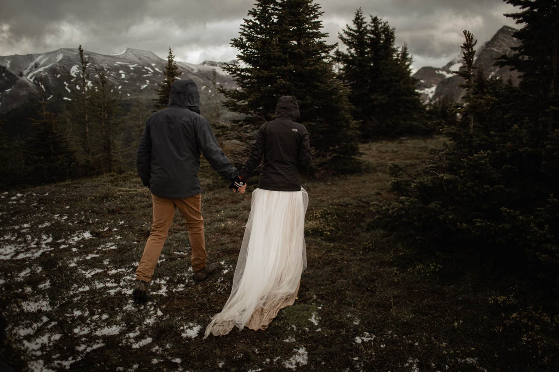 Mt Assiniboine Hiking in Wedding Dress