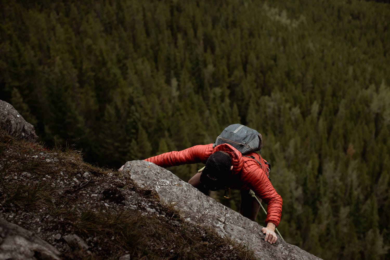 Groom lead climbing