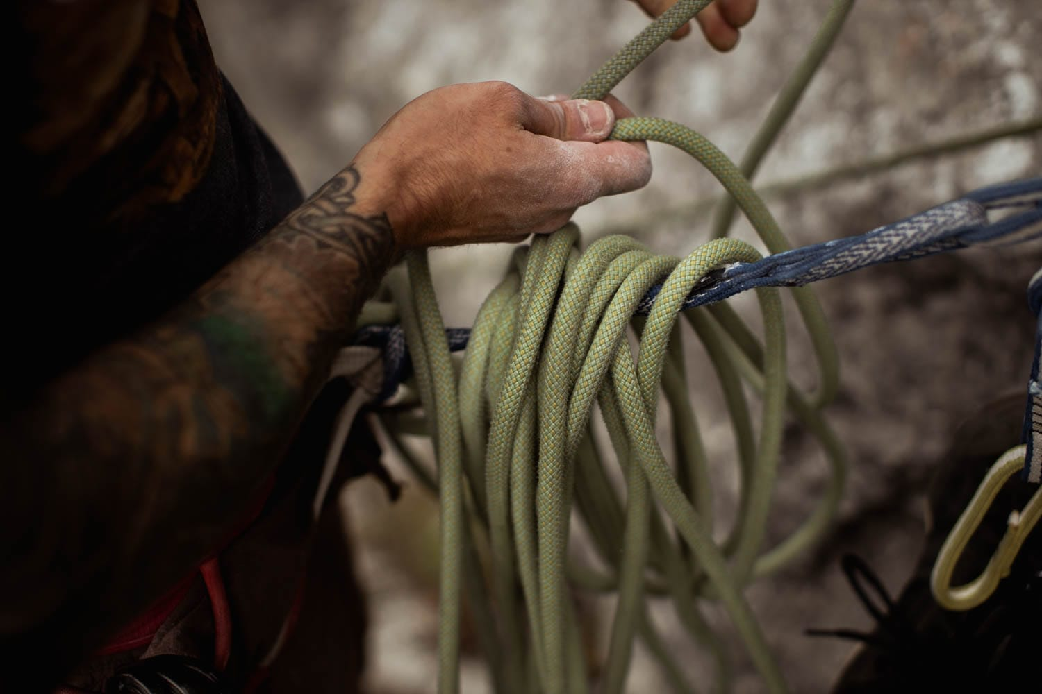 rope management at belay station