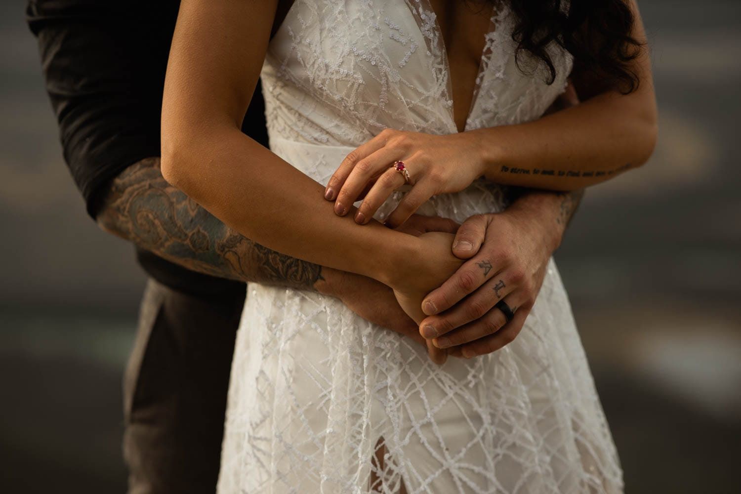 bride and groom hand close up