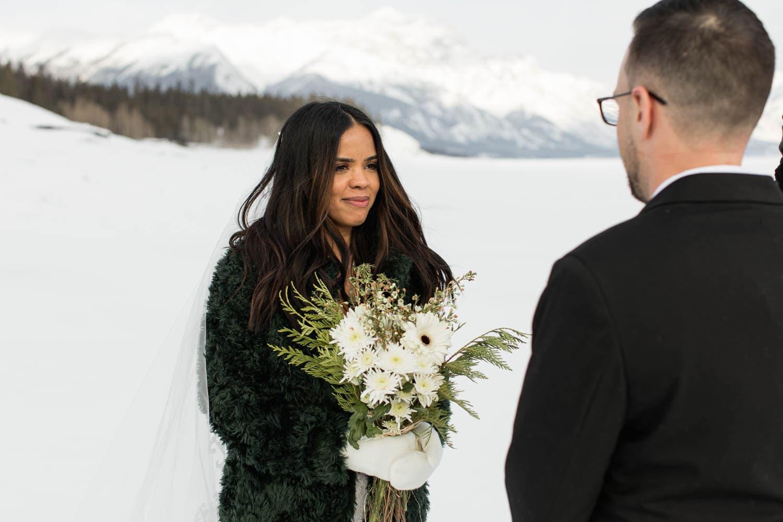 bride at winter ceremony