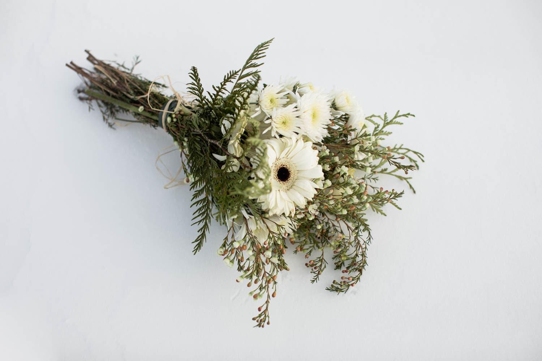 bouquet on snow