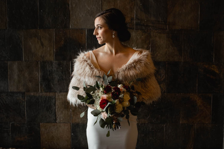 bride portrait winter wedding