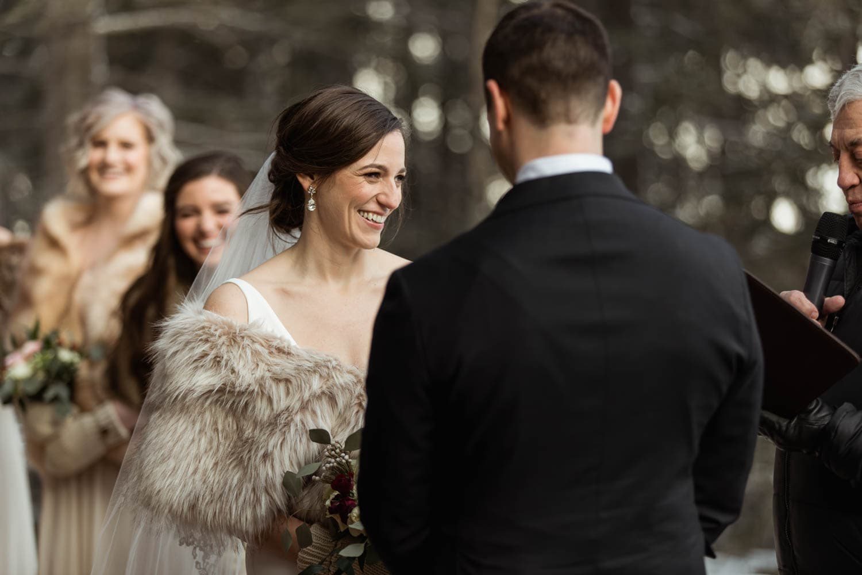 winter bride at ceremony